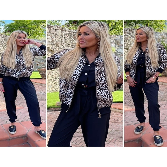 Mikina leopard na zip