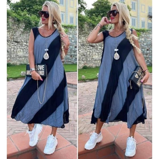 Pruhy duha šaty Black grey